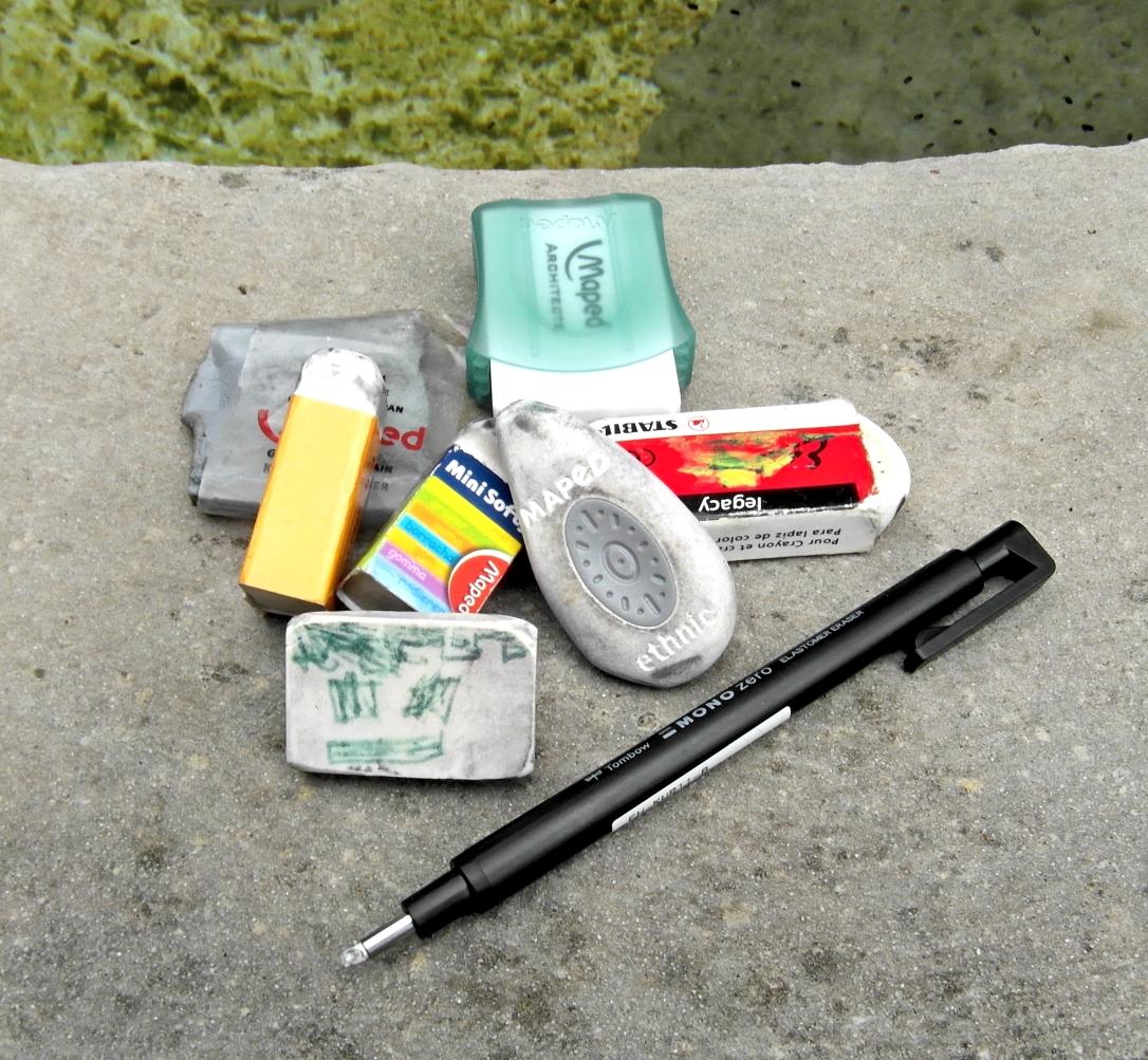 eraser pile